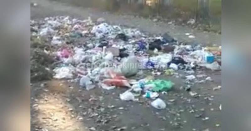 Возле школы №2 в Токмоке организовали стихийную свалку (видео)