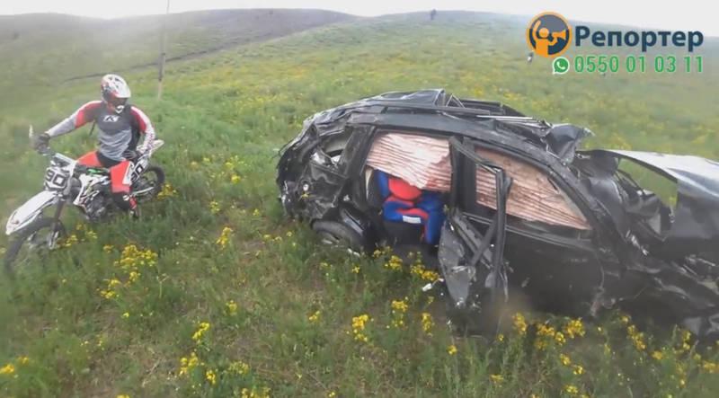 В ущелье Кашка-Суу машина упала в обрыв, погибли мужчина и его малолетний сын, супруга в больнице. Видео