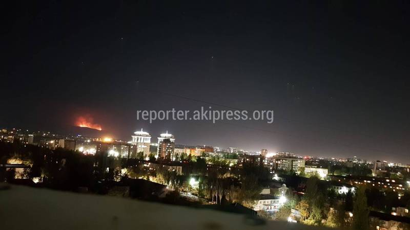 На окраине Бишкека горят холмы. Фото