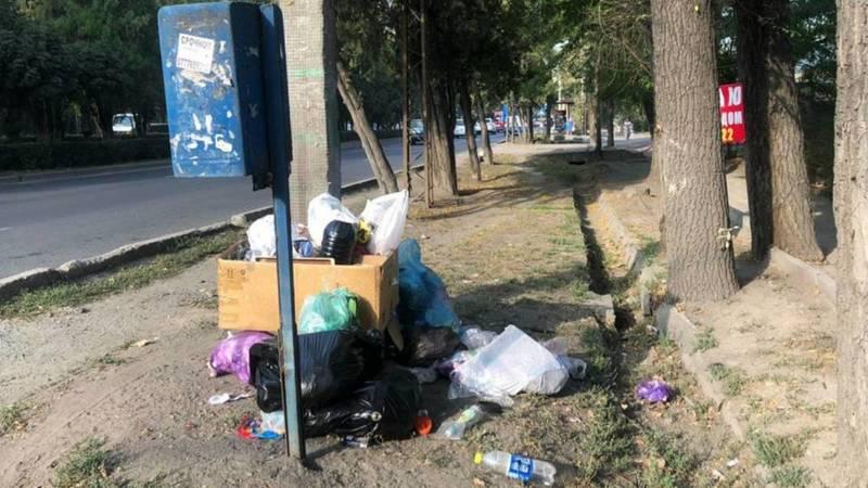 На проспекте Жибек Жолу на обочине лежит куча мусора, - очевидец