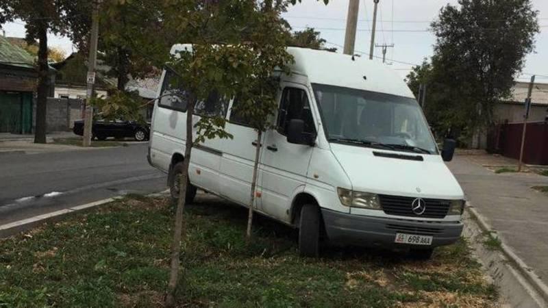 Бус «Мерседес» со штрафами в 11 тыс. сомов припаркован на газоне. Фото очевидца