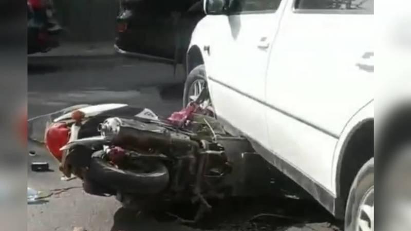 Мотоцикл залетел под машину. ДТП на Советской