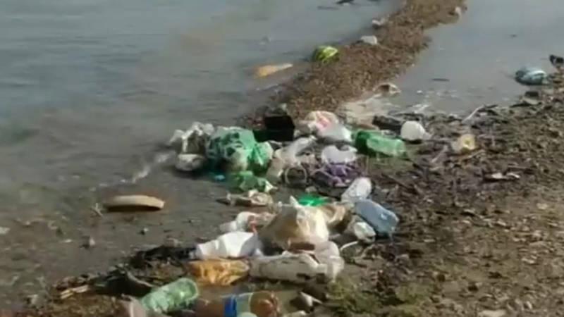 Мужчина призывает не бросать мусор у Токтогульского водохранилища. Видео