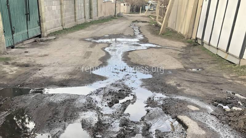 В селе Беш-Кунгей прорвало трубу и по улице течет чистая питьевая вода (фото)