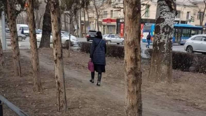 Газон на Манаса превратили в тротуар. Фото горожанина