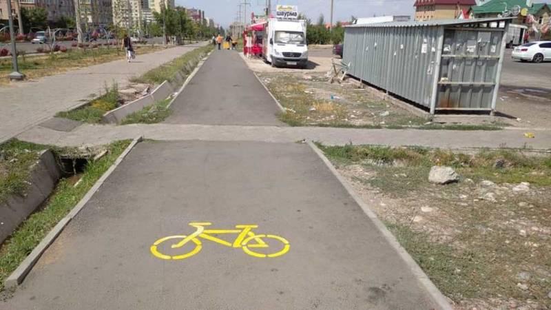 Нанесена разметка на велодорожке на ул.Тыналиева, - мэрия