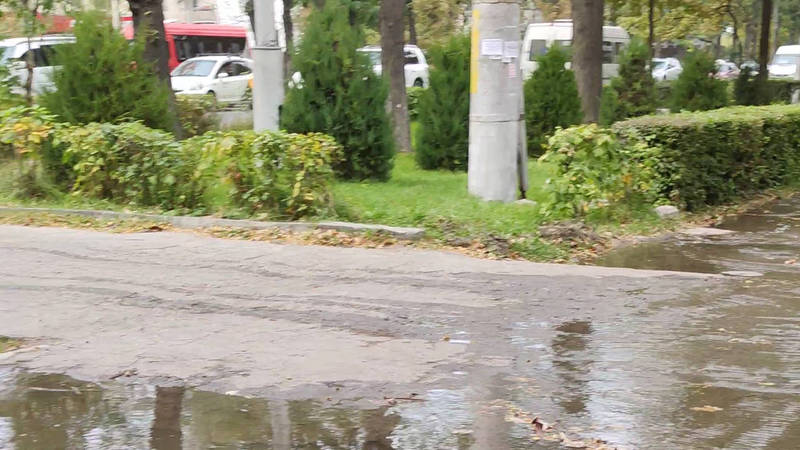 На Ч. Айтматова - Гагарина арычная вода затопила тротуар (видео)