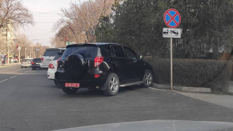 На Московской-Тыныстанова водители паркуются в неположенном месте. Фото