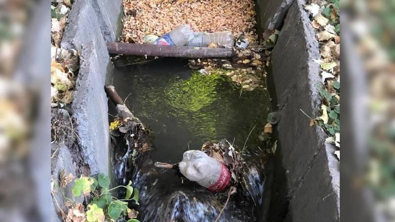 На пересечении Фрунзе - Эркиндик в арыках вместе с водой течет мусор. Фото