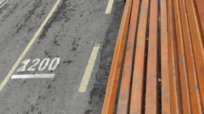 На проспекте Айтматова вдоль велодорожки сломана скамейка. Фото