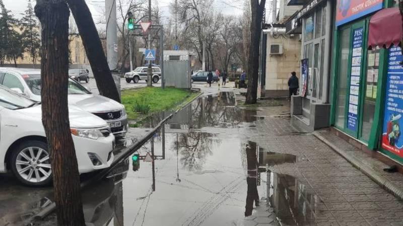 Бишкекчанин жалуется на лужи на тротуаре. Фото