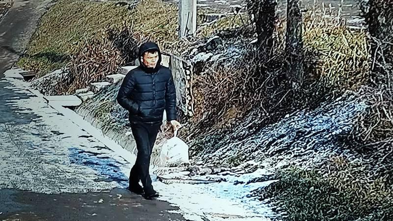 В Бишкеке мужчина бросил пакет мусора на обочину тротуара. Видео