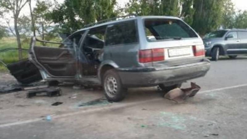 Лобовое столкновение на Иссык-Куле. Видео с места аварии