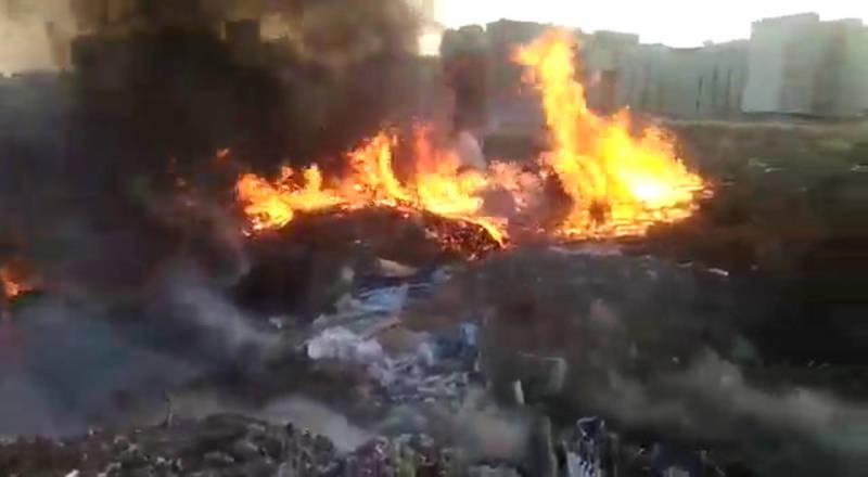 Пожар на Южной окраине Бишкека. Горел мусор