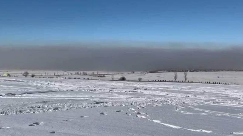 Смог над Бишкеком. Вид с мемориала «Ата-Бейит»