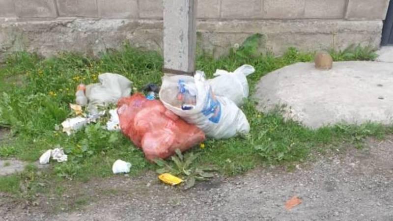 В жилмассиве Ала-Тоо-2 вовремя не вывозится мусор. Фото местного жителя