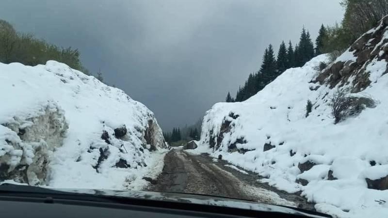 В восточной части Иссык-Кульской области выпал снег с градом. Фото