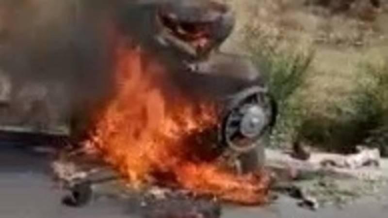 На ул.Льва Толстого сгорел мотоцикл. Видео