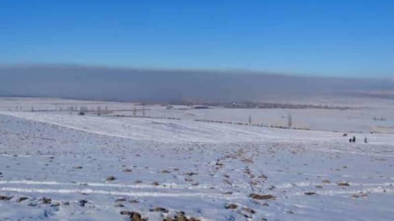 Смог над Бишкеком. Вид из села Чон-Таш
