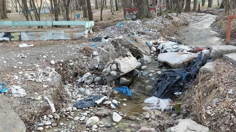 Горожанка жалуется на мусор в парке «Сейил». Фото