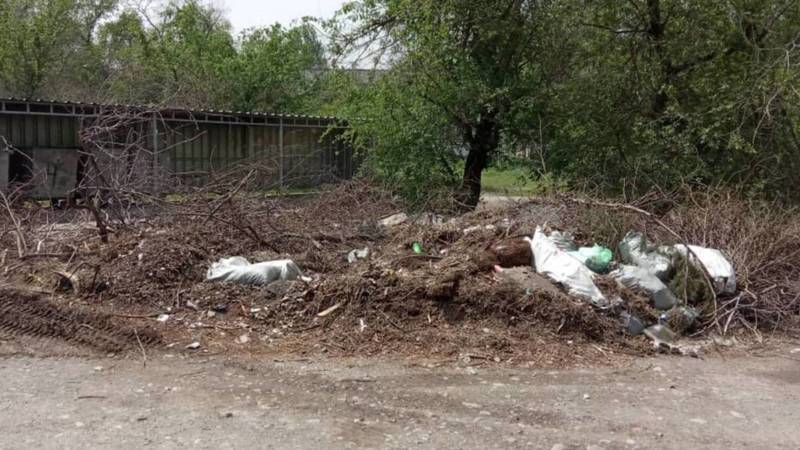 В 6 мкр не вывезли мусор после субботника. Фото горожанина