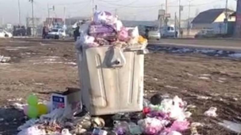 На Ахунбаева-Чортекова не вывозят мусор. Видео