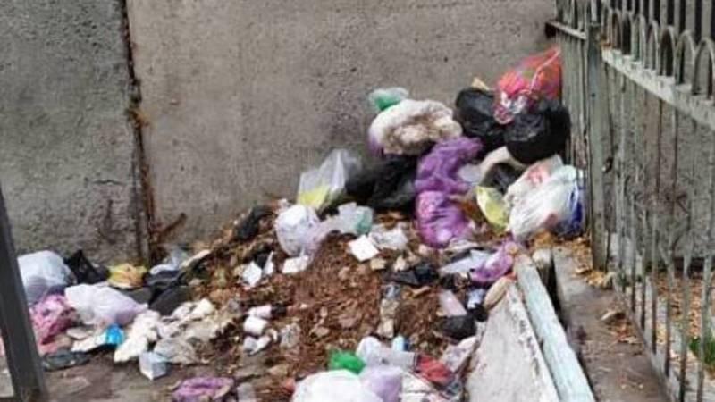 Горожанка жалуется на мусор между домами на ул.Киевской. Фото