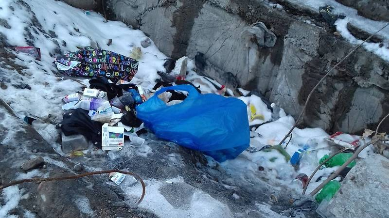 Горожанин жалуется на мусор на ул.Пушкина. Фото