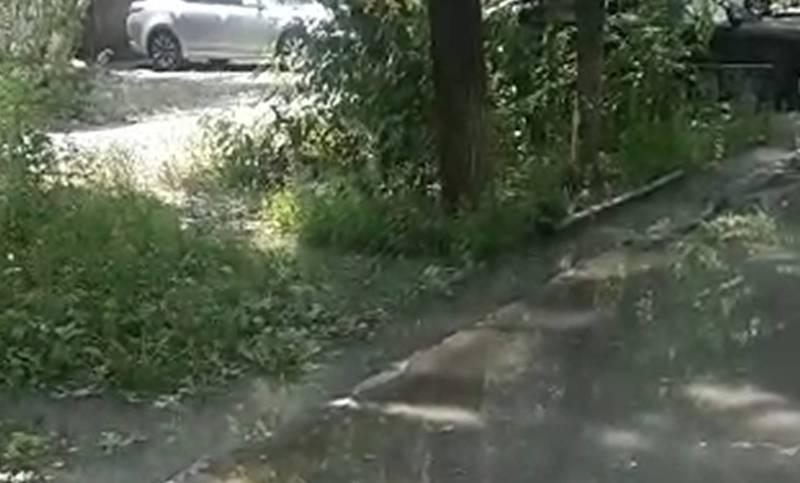 На Московской - Ибраимова из-за неправильной ирригационной системы заливает двор (видео)