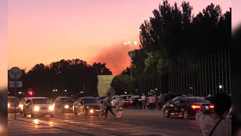 На северо-западе Бишкека что-то горит