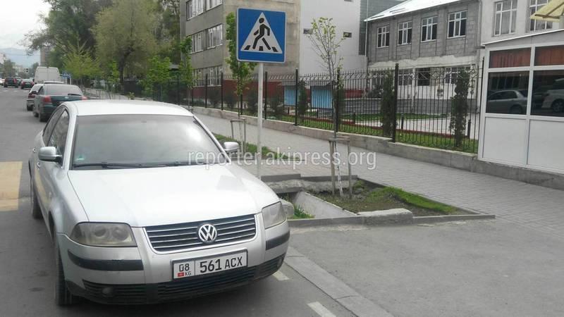 Водитель «Фольксвагена» припарковался на пешеходном переходе, подвергая опасности детей (фото)