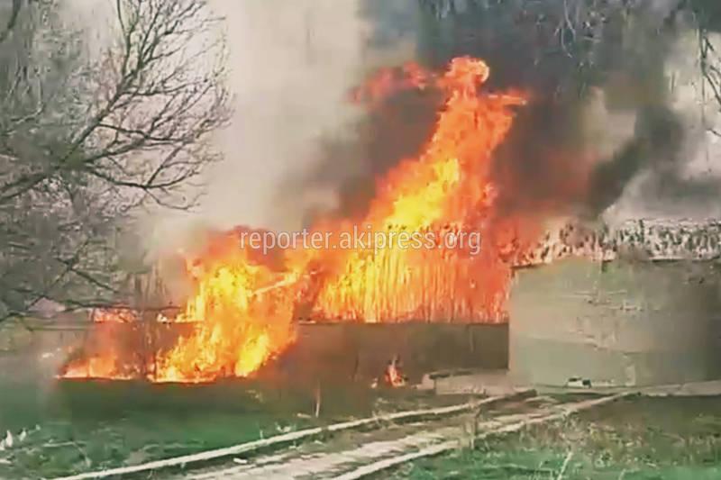 Крупный пожар в Токмоке. Видео