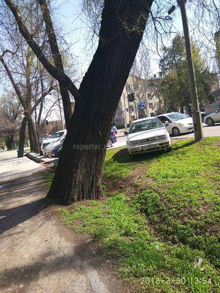 Парковка на газоне на Фрунзе-Исанова