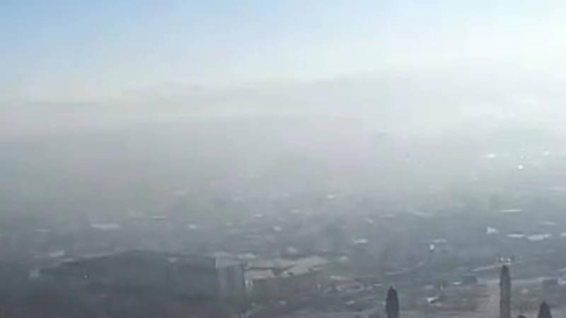 Смог над городом Ош. Вид с Сулайман-Тоо