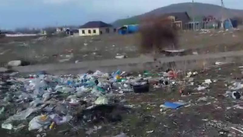 Территория между селами Воронцовка и Байтик завалена мусором. Видео