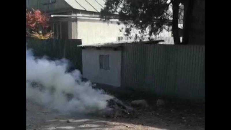 На улице Гагарина в селе Ново-Павловка сжигают листья. Видео