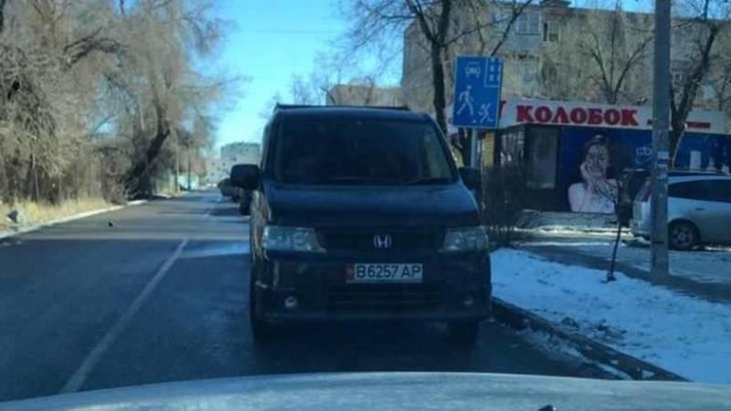Бишкекчанин припарковал свой «Стэпвагон» против шерсти. Фото
