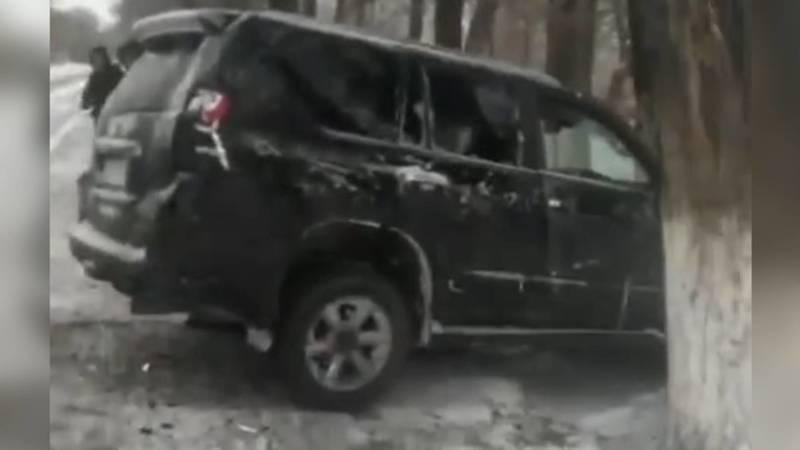 Автомобиль Toyota Prado врезался в дерево. Видео