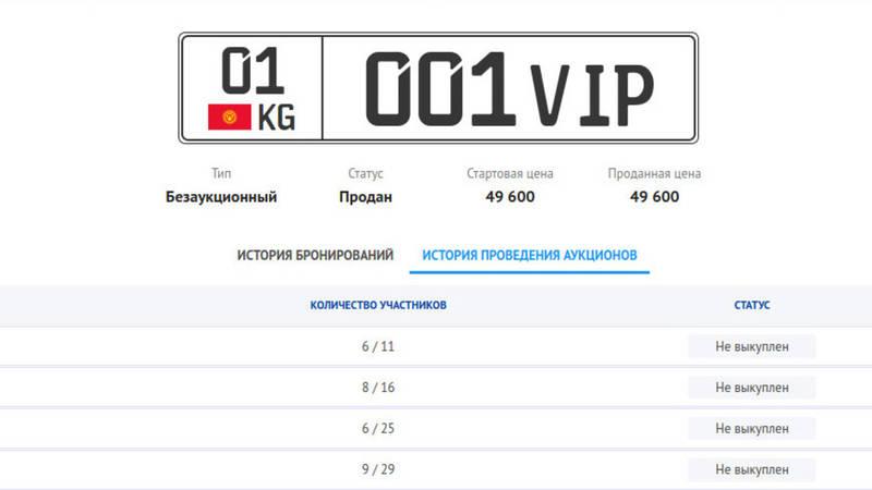 Госномер 01KG 001 VIP продан за 49 тыс. сомов, хотя на аукционе давали 366 тыс. сомов