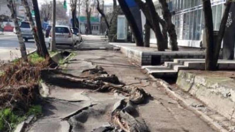 Бишкекчанин жалуется на состояние тротуара на Элебаева. Фото