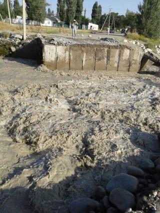 Читатель прислал фото: «Это село Байтик. 25 июля вода снесла мост. Могут ли МЧС ускорить работу?»