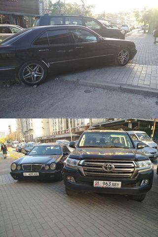 Парковка на тротуаре на Токтогула-Исанова