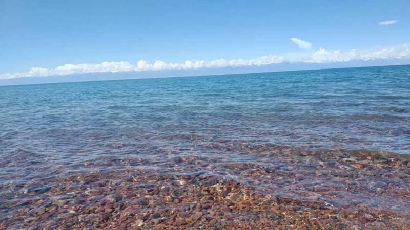 Красивый вид на озеро Иссык-Куль в селе Тамга. Видео и фото