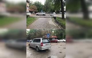 Парковка на тротуаре на ул.Тыныстанова