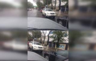 Машина, выехав на встречку, припарковалась на остановке