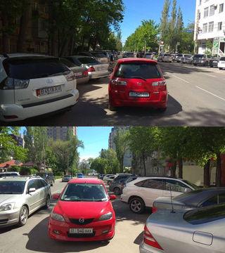 Машина припаркована вторым рядом на Панфилова-Боконбаева