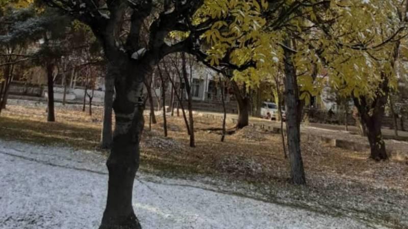 Заснеженный Бишкек, 29 октября. Фото