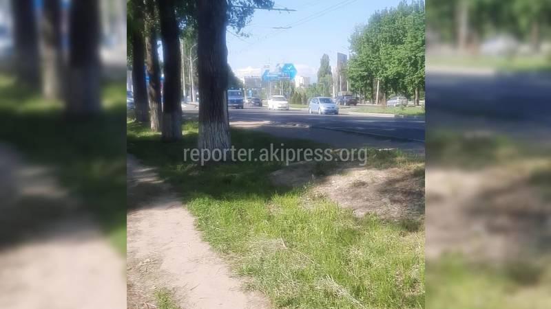 Бишкекчанин жалуется на отсутствие тротуара на Алматинке—Горького