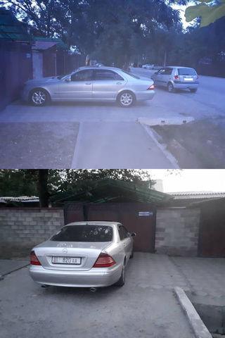 Машина перегородила тротуар на ул.Жунусалиева