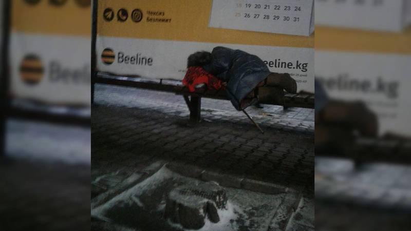 На Абдрахманова-Киевской каждый день на остановке ночует бабушка (фото)